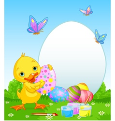 Easter duckling painting easter eggs vector