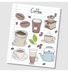 Coffee doodles lined paper colored vector