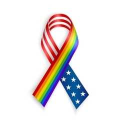 Rainbow and usa ribbons isolated on white with vector