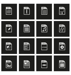 Black file type icon set vector