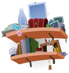 Shelf full of stuff vector
