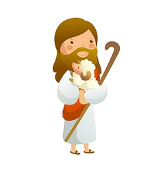 Close-up of jesus christ holding sheep vector