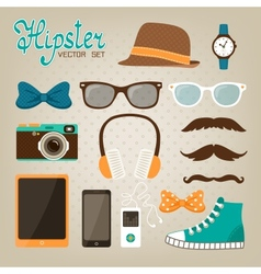 Hipster elements icons set vector