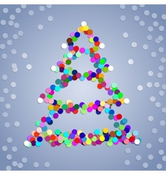 Christmas confetti tree background vector