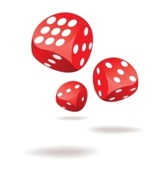 Three red dices in motion vector