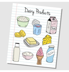 Dairy products doodles lined paper colored vector