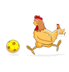 Hen playing with soccer ball vector