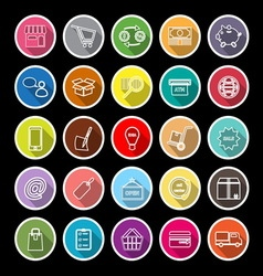 Internet entrepreneur line flat icons with long vector