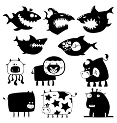 Sharks and cows vector