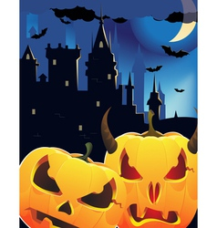 Halloween pumpkin head monsters vector