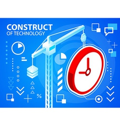 Bright construct crine and clock on blue bac vector