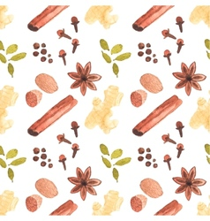 Seamless watercolor pattern with cinamon ginger vector