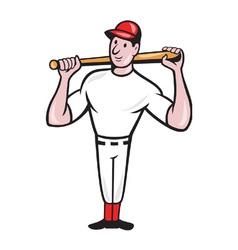 American baseball player batting cartoon vector