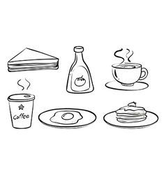 Foods and drinks for breakfast vector