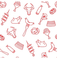Meat seamless pattern with eat elements sausage a vector