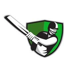 Cricket batsman shield vector