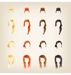Set of female hair vector