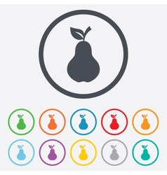 Pear with leaf sign icon fruit symbol vector