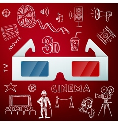 Three d glasses and hand draw cinema icon vector