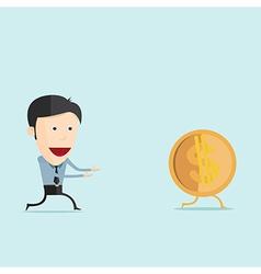 Cartoon run with dollar coin in flat desi vector