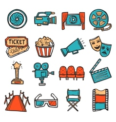 Cinema icons set color vector