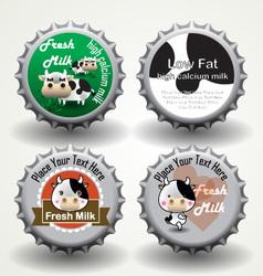 Bottle caps of fresh milk vector