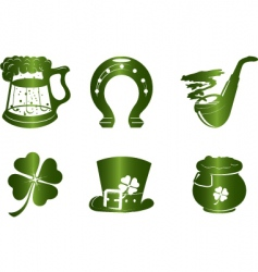 St. patrick's day icon set vector