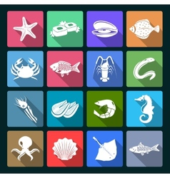 Seafood icons set white vector