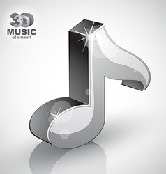 Metallic musical note icon isolated 3d music vector
