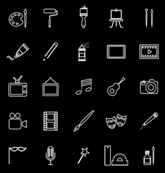 Art line icons on black background vector