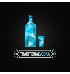 Vodka bottle poly design background vector