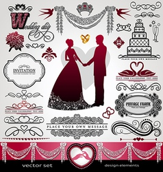 Wedding day background ornaments set vector