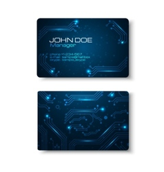 Business cards set with technology design vector