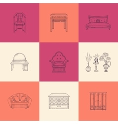 Set of furniture for home vector
