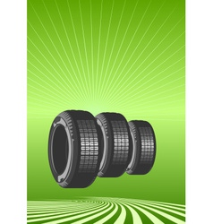 Brand new tires on green background vector
