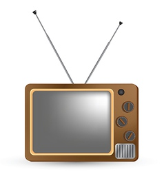 Brown vintage tv vector