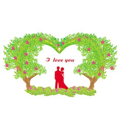 Silhouette of romantic couple vector