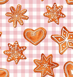 Seamless pattern of watercolor gingerbread cookies vector