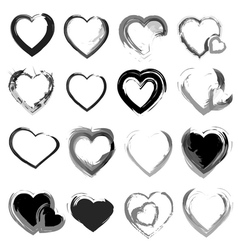 Grunge hearts background vector