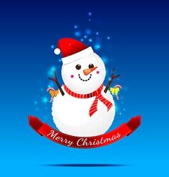 Christmas snow man on the dark blue background vector