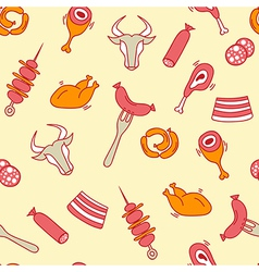 Meat seamless pattern with eat elements sausage vector