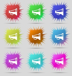 Megaphone soon loudspeaker icon sign a set of nine vector