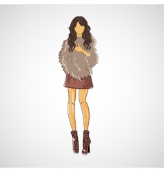 Sketch girl in fashion clothes eps vector