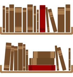 Different red books on shelf vector