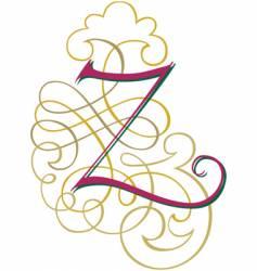 Script letter z vector