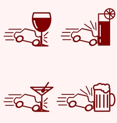 Alcohol and driving accident vector