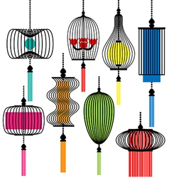 Modern lamp set vector