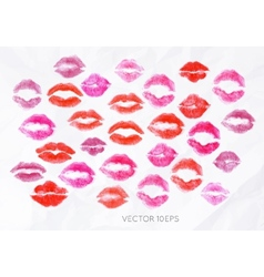 Set lipstick kiss vector