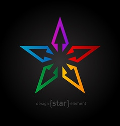 Spectrum star abstract design element on black vector