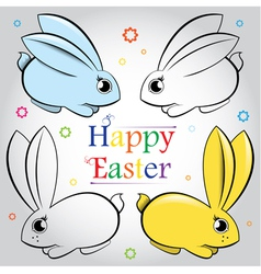 Easter set of rabbits contour and painted vector